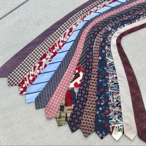 13 MENS ties WIDE bundle set SILK STRIPED blue red